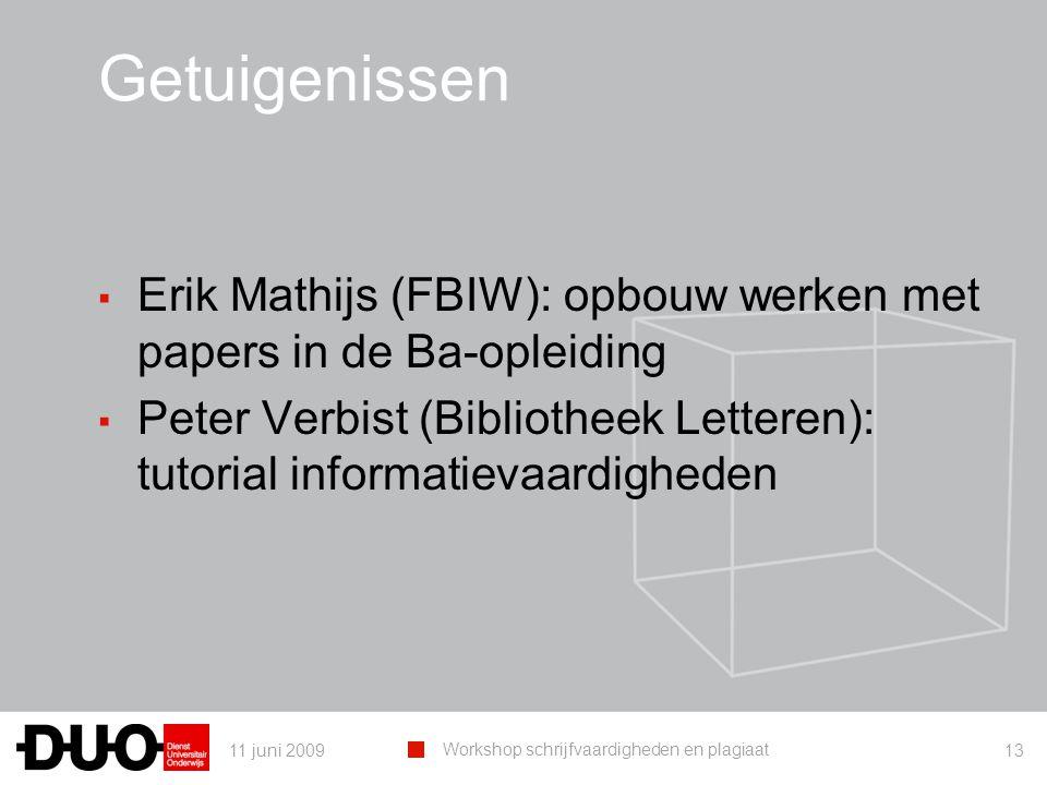 11 juni 2009 Workshop schrijfvaardigheden en plagiaat 13 Getuigenissen ▪ Erik Mathijs (FBIW): opbouw werken met papers in de Ba-opleiding ▪ Peter Verbist (Bibliotheek Letteren): tutorial informatievaardigheden