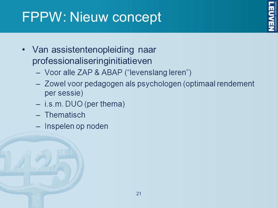 FPPW: Nieuw concept Van assistentenopleiding naar professionaliseringinitiatieven –Voor alle ZAP & ABAP ( levenslang leren ) –Zowel voor pedagogen als psychologen (optimaal rendement per sessie) –i.s.m.