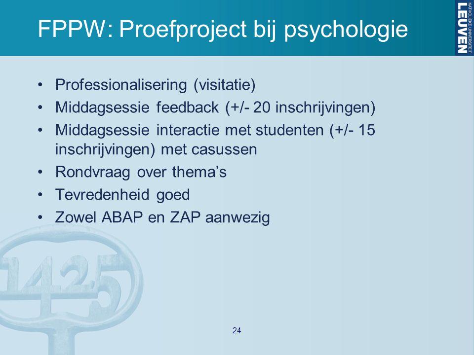 FPPW: Proefproject bij psychologie Professionalisering (visitatie) Middagsessie feedback (+/- 20 inschrijvingen) Middagsessie interactie met studenten (+/- 15 inschrijvingen) met casussen Rondvraag over thema's Tevredenheid goed Zowel ABAP en ZAP aanwezig 24