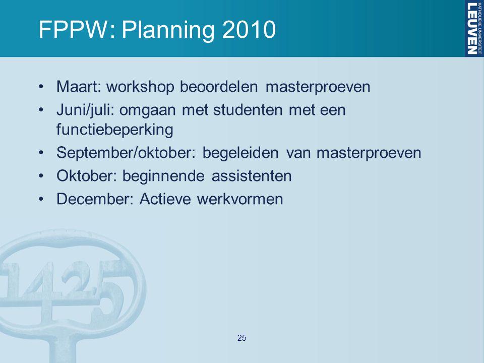 FPPW: Planning 2010 Maart: workshop beoordelen masterproeven Juni/juli: omgaan met studenten met een functiebeperking September/oktober: begeleiden van masterproeven Oktober: beginnende assistenten December: Actieve werkvormen 25
