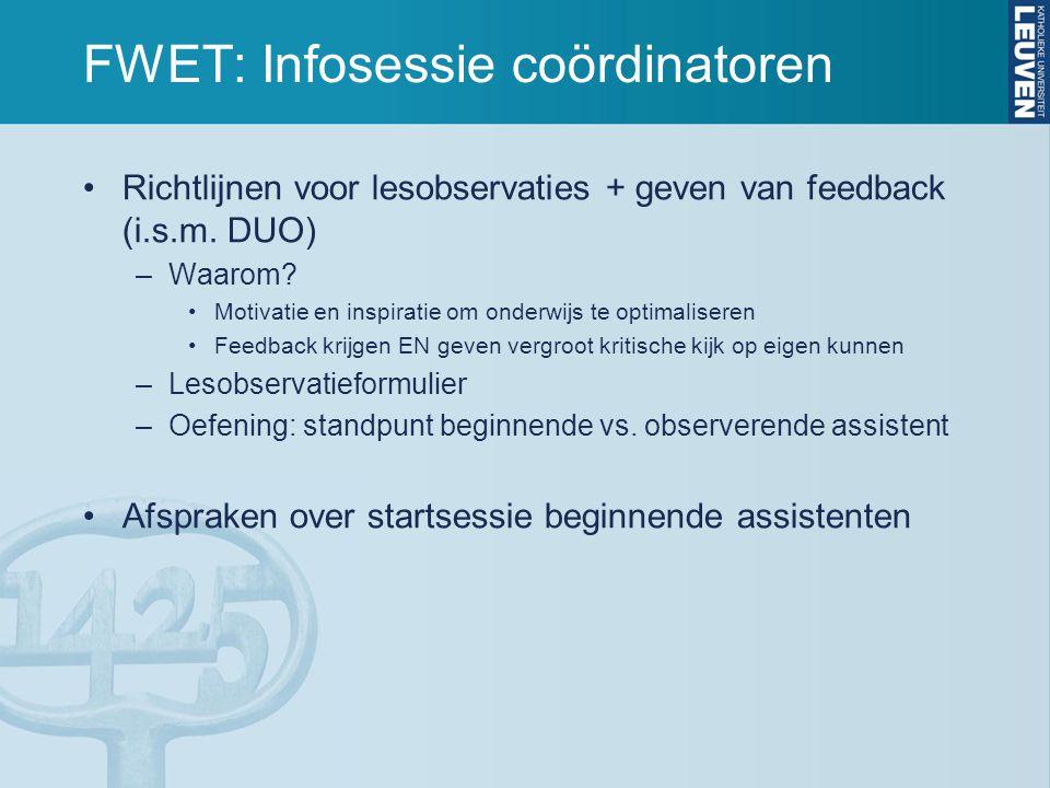 FWET: Infosessie coördinatoren Richtlijnen voor lesobservaties + geven van feedback (i.s.m.