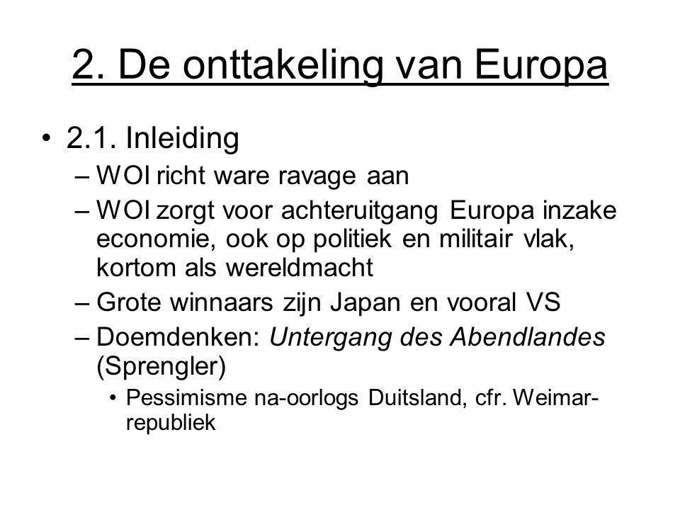 2. De onttakeling van Europa 2.1. Inleiding –WOI richt ware ravage aan –WOI zorgt voor achteruitgang Europa inzake economie, ook op politiek en milita