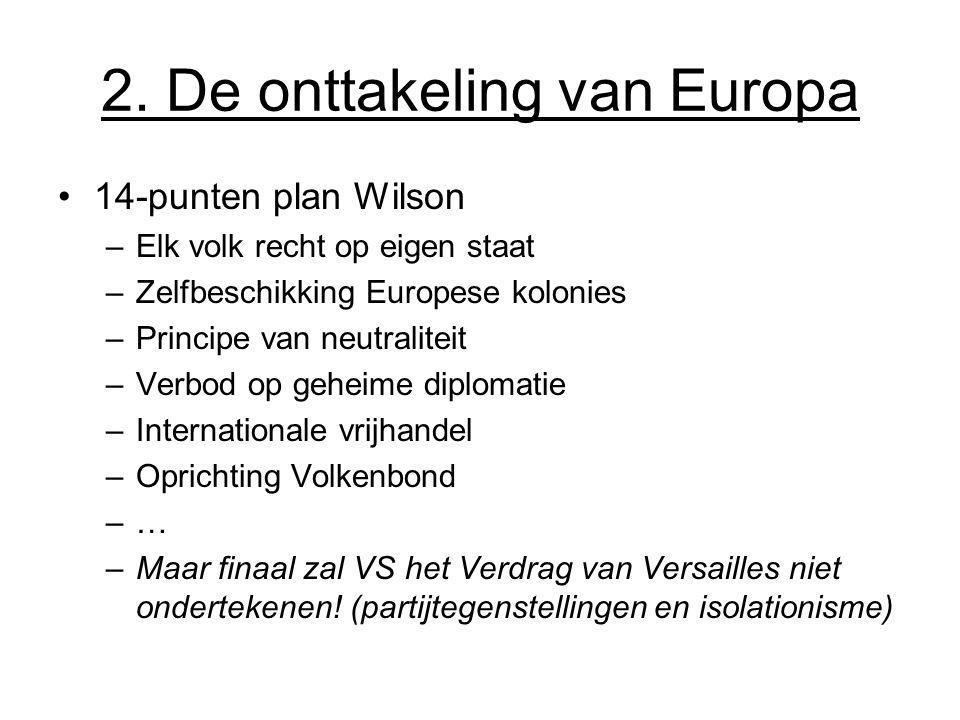 2. De onttakeling van Europa 14-punten plan Wilson –Elk volk recht op eigen staat –Zelfbeschikking Europese kolonies –Principe van neutraliteit –Verbo