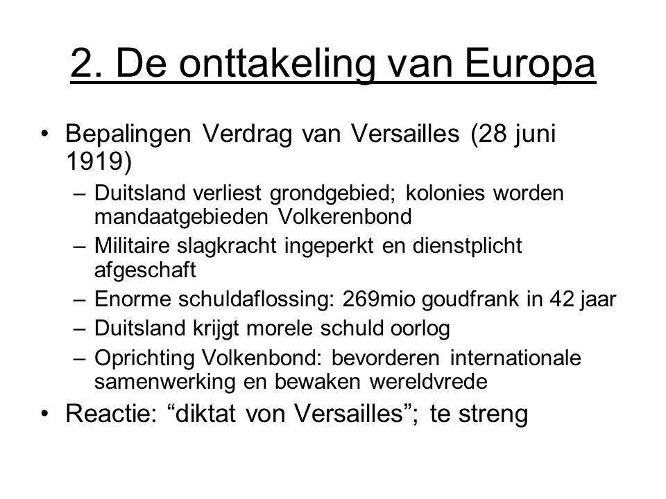 2. De onttakeling van Europa Bepalingen Verdrag van Versailles (28 juni 1919) –Duitsland verliest grondgebied; kolonies worden mandaatgebieden Volkere