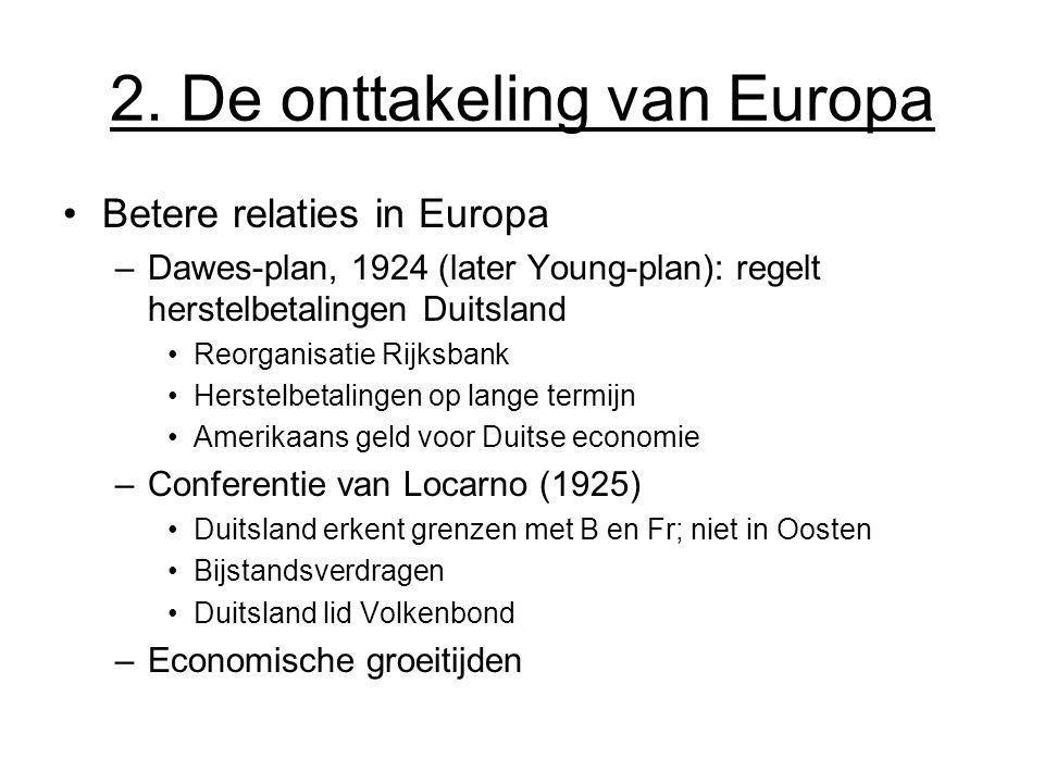 2. De onttakeling van Europa Betere relaties in Europa –Dawes-plan, 1924 (later Young-plan): regelt herstelbetalingen Duitsland Reorganisatie Rijksban