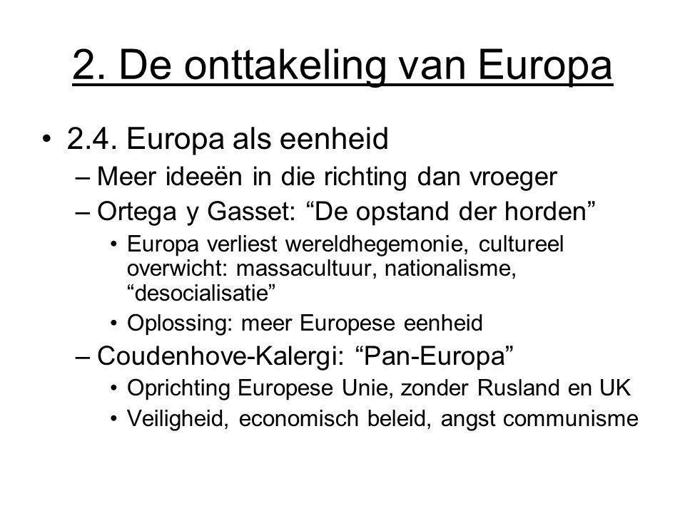 """2. De onttakeling van Europa 2.4. Europa als eenheid –Meer ideeën in die richting dan vroeger –Ortega y Gasset: """"De opstand der horden"""" Europa verlies"""