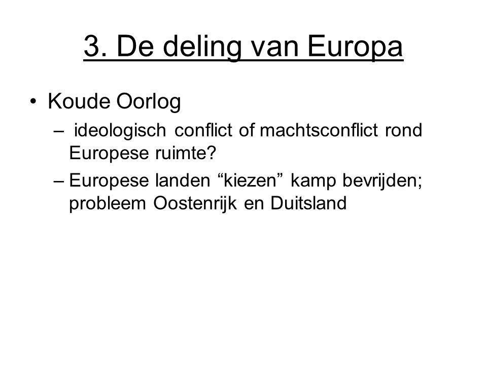 """3. De deling van Europa Koude Oorlog – ideologisch conflict of machtsconflict rond Europese ruimte? –Europese landen """"kiezen"""" kamp bevrijden; probleem"""