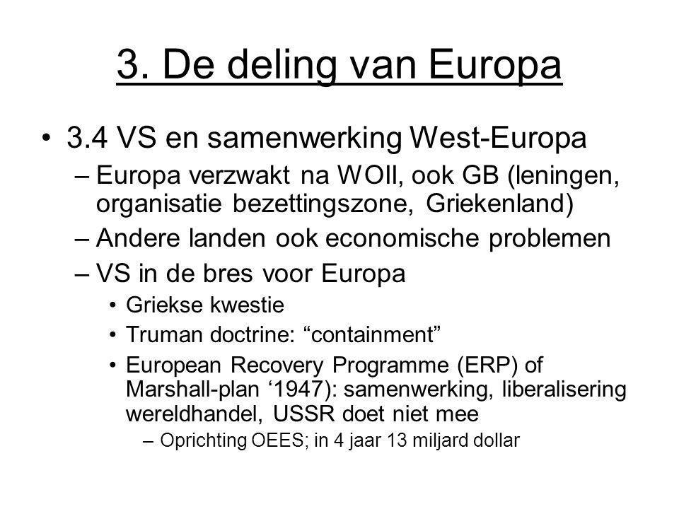 3. De deling van Europa 3.4 VS en samenwerking West-Europa –Europa verzwakt na WOII, ook GB (leningen, organisatie bezettingszone, Griekenland) –Ander