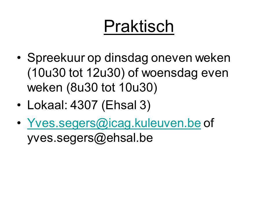 Praktisch Spreekuur op dinsdag oneven weken (10u30 tot 12u30) of woensdag even weken (8u30 tot 10u30) Lokaal: 4307 (Ehsal 3) Yves.segers@icag.kuleuven