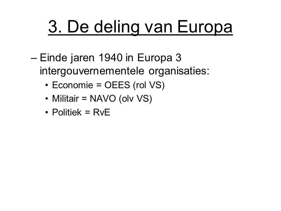 3. De deling van Europa –Einde jaren 1940 in Europa 3 intergouvernementele organisaties: Economie = OEES (rol VS) Militair = NAVO (olv VS) Politiek =