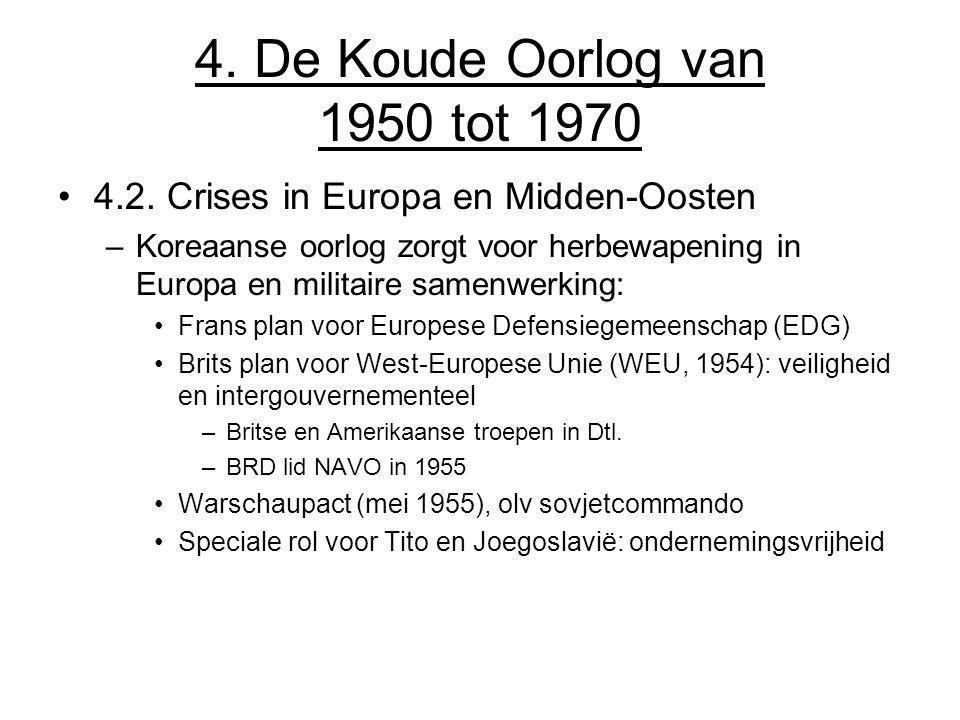 4. De Koude Oorlog van 1950 tot 1970 4.2. Crises in Europa en Midden-Oosten –Koreaanse oorlog zorgt voor herbewapening in Europa en militaire samenwer