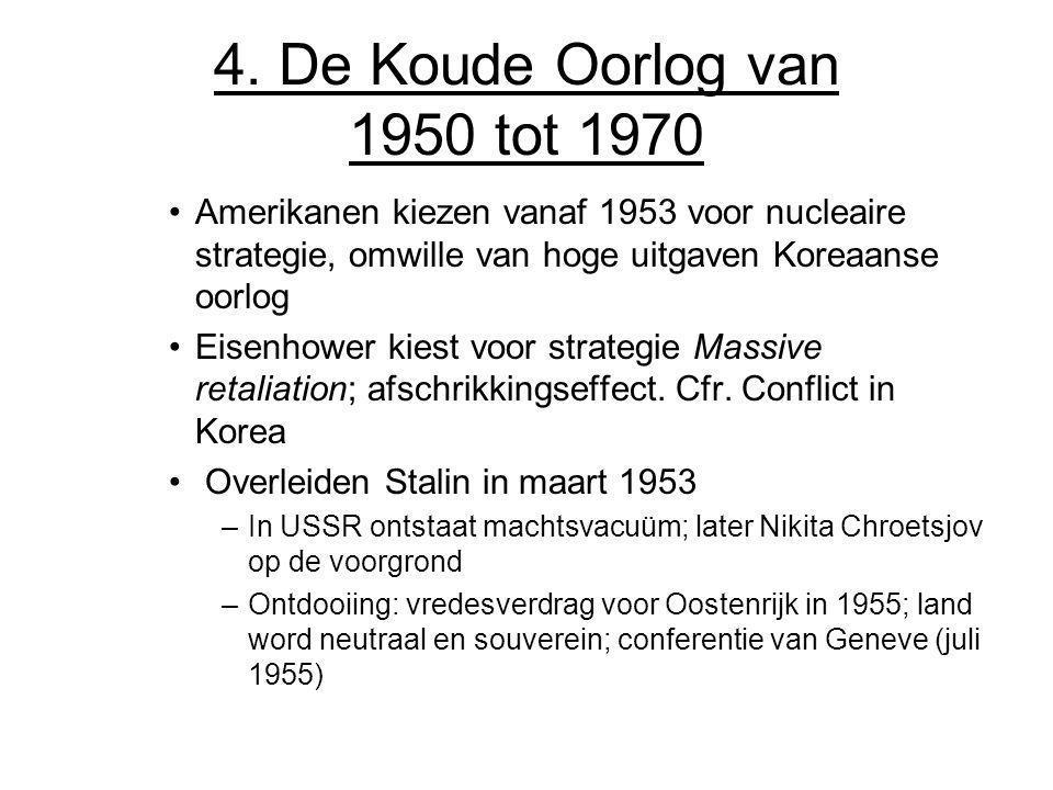 4. De Koude Oorlog van 1950 tot 1970 Amerikanen kiezen vanaf 1953 voor nucleaire strategie, omwille van hoge uitgaven Koreaanse oorlog Eisenhower kies