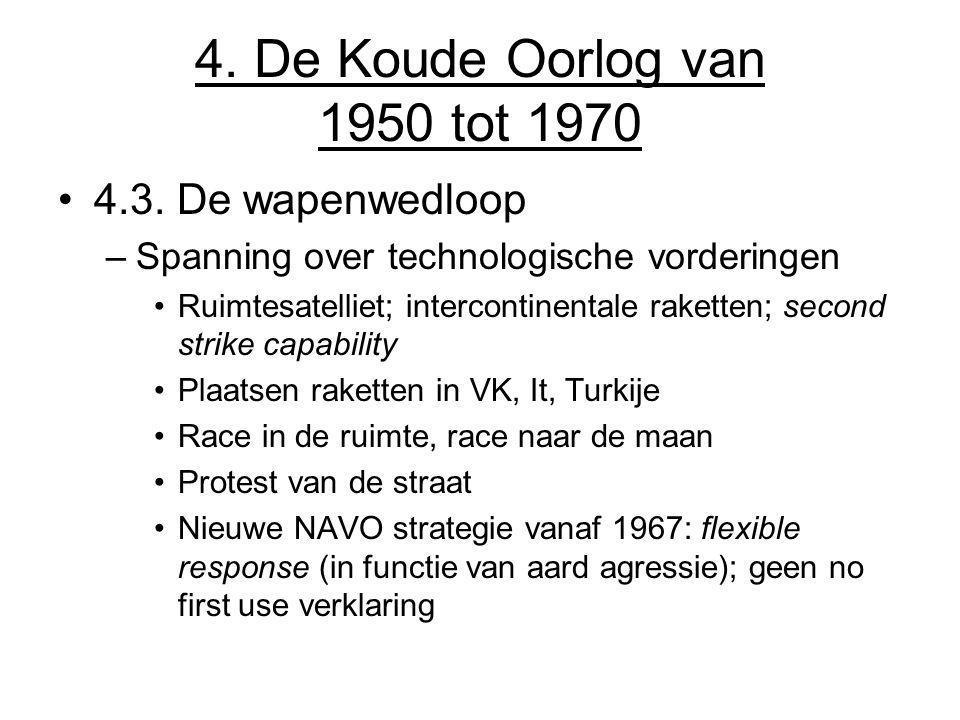 4. De Koude Oorlog van 1950 tot 1970 4.3. De wapenwedloop –Spanning over technologische vorderingen Ruimtesatelliet; intercontinentale raketten; secon