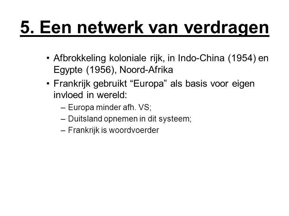 """5. Een netwerk van verdragen Afbrokkeling koloniale rijk, in Indo-China (1954) en Egypte (1956), Noord-Afrika Frankrijk gebruikt """"Europa"""" als basis vo"""