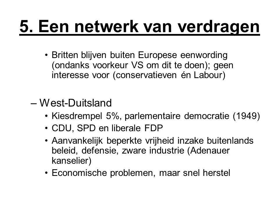 5. Een netwerk van verdragen Britten blijven buiten Europese eenwording (ondanks voorkeur VS om dit te doen); geen interesse voor (conservatieven én L