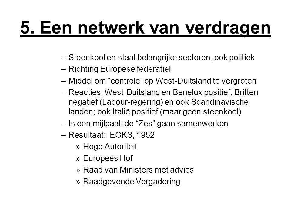 """5. Een netwerk van verdragen –Steenkool en staal belangrijke sectoren, ook politiek –Richting Europese federatie! –Middel om """"controle"""" op West-Duitsl"""