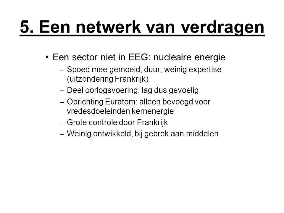 5. Een netwerk van verdragen Een sector niet in EEG: nucleaire energie –Spoed mee gemoeid; duur; weinig expertise (uitzondering Frankrijk) –Deel oorlo