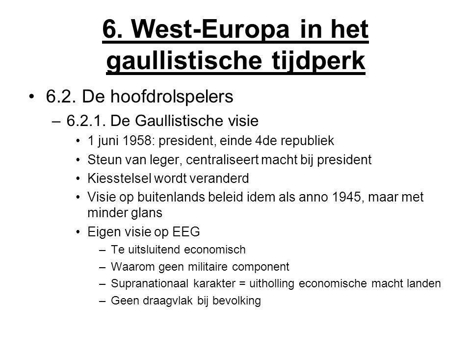 6. West-Europa in het gaullistische tijdperk 6.2. De hoofdrolspelers –6.2.1. De Gaullistische visie 1 juni 1958: president, einde 4de republiek Steun