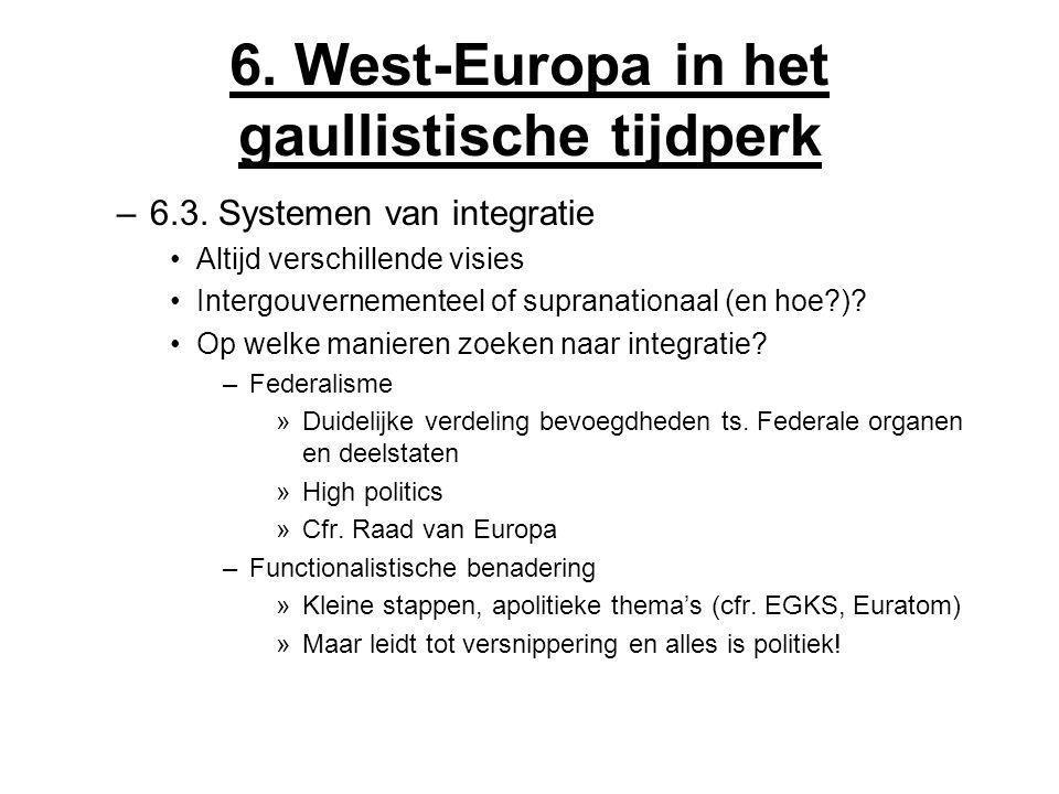 6. West-Europa in het gaullistische tijdperk –6.3. Systemen van integratie Altijd verschillende visies Intergouvernementeel of supranationaal (en hoe?