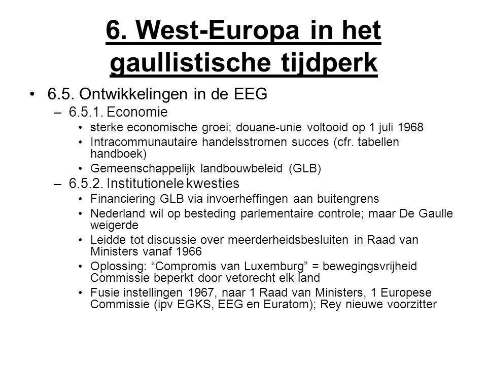 6. West-Europa in het gaullistische tijdperk 6.5. Ontwikkelingen in de EEG –6.5.1. Economie sterke economische groei; douane-unie voltooid op 1 juli 1