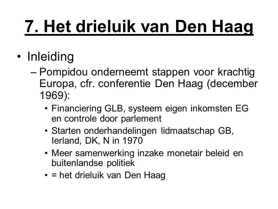 7. Het drieluik van Den Haag Inleiding –Pompidou onderneemt stappen voor krachtig Europa, cfr. conferentie Den Haag (december 1969): Financiering GLB,