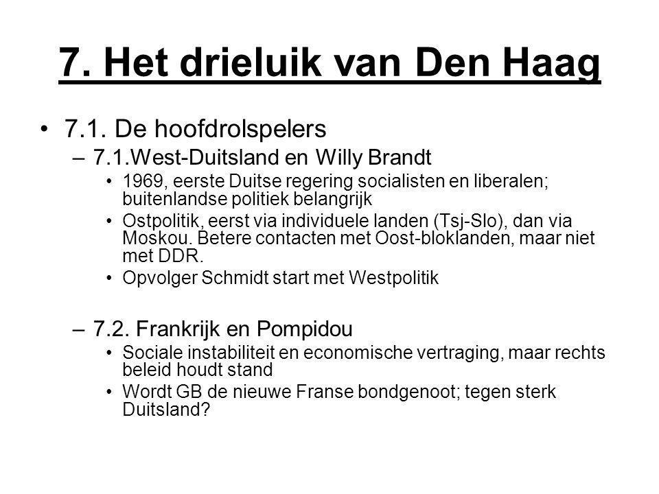7. Het drieluik van Den Haag 7.1. De hoofdrolspelers –7.1.West-Duitsland en Willy Brandt 1969, eerste Duitse regering socialisten en liberalen; buiten