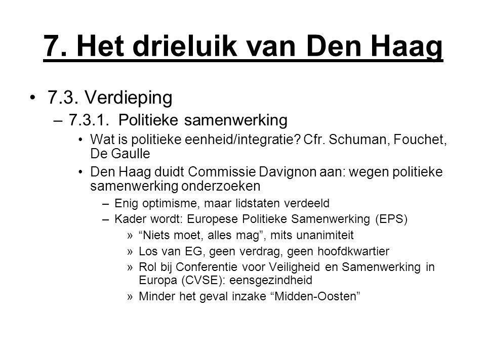 7. Het drieluik van Den Haag 7.3. Verdieping –7.3.1. Politieke samenwerking Wat is politieke eenheid/integratie? Cfr. Schuman, Fouchet, De Gaulle Den