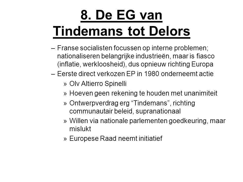 8. De EG van Tindemans tot Delors –Franse socialisten focussen op interne problemen; nationaliseren belangrijke industrieën, maar is fiasco (inflatie,