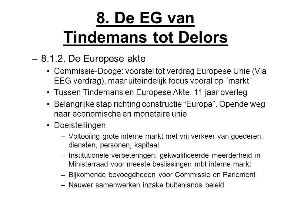 8. De EG van Tindemans tot Delors –8.1.2. De Europese akte Commissie-Dooge: voorstel tot verdrag Europese Unie (Via EEG verdrag), maar uiteindelijk fo