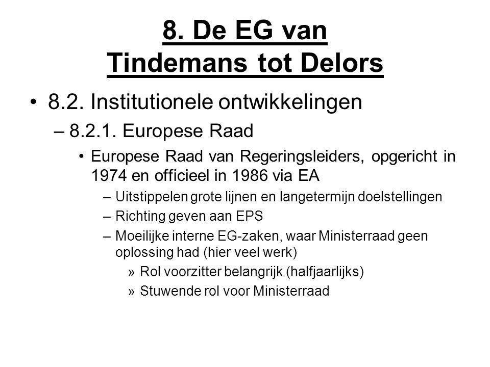 8. De EG van Tindemans tot Delors 8.2. Institutionele ontwikkelingen –8.2.1. Europese Raad Europese Raad van Regeringsleiders, opgericht in 1974 en of