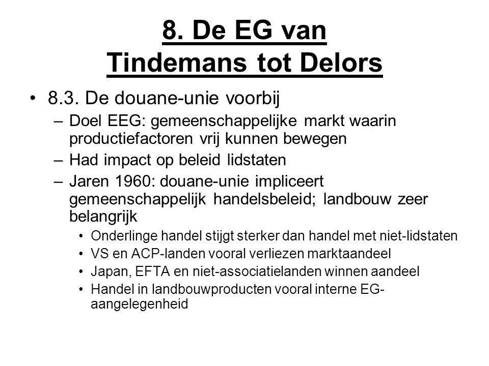 8. De EG van Tindemans tot Delors 8.3. De douane-unie voorbij –Doel EEG: gemeenschappelijke markt waarin productiefactoren vrij kunnen bewegen –Had im