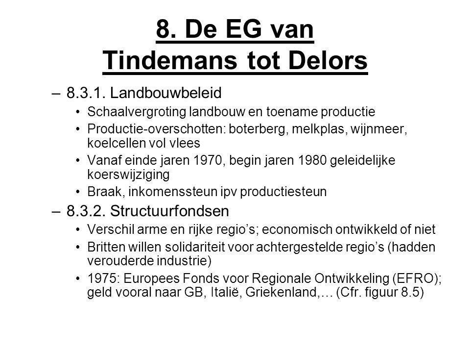 8. De EG van Tindemans tot Delors –8.3.1. Landbouwbeleid Schaalvergroting landbouw en toename productie Productie-overschotten: boterberg, melkplas, w