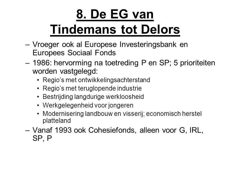 8. De EG van Tindemans tot Delors –Vroeger ook al Europese Investeringsbank en Europees Sociaal Fonds –1986: hervorming na toetreding P en SP; 5 prior