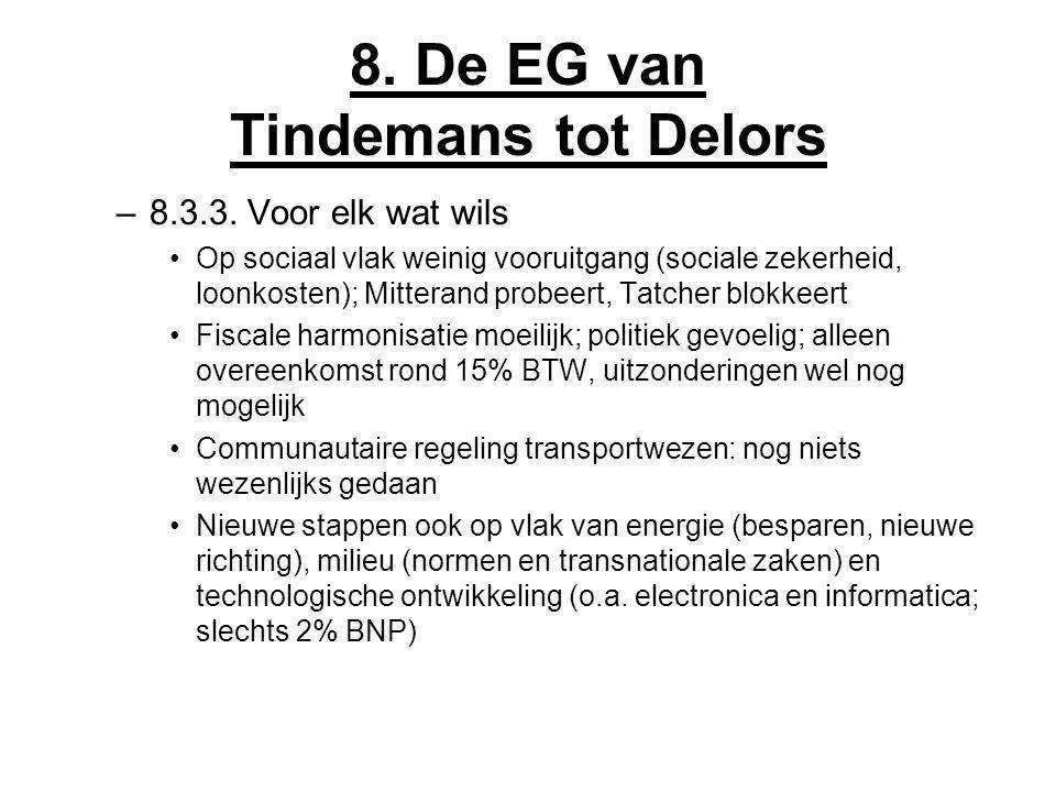 8. De EG van Tindemans tot Delors –8.3.3. Voor elk wat wils Op sociaal vlak weinig vooruitgang (sociale zekerheid, loonkosten); Mitterand probeert, Ta