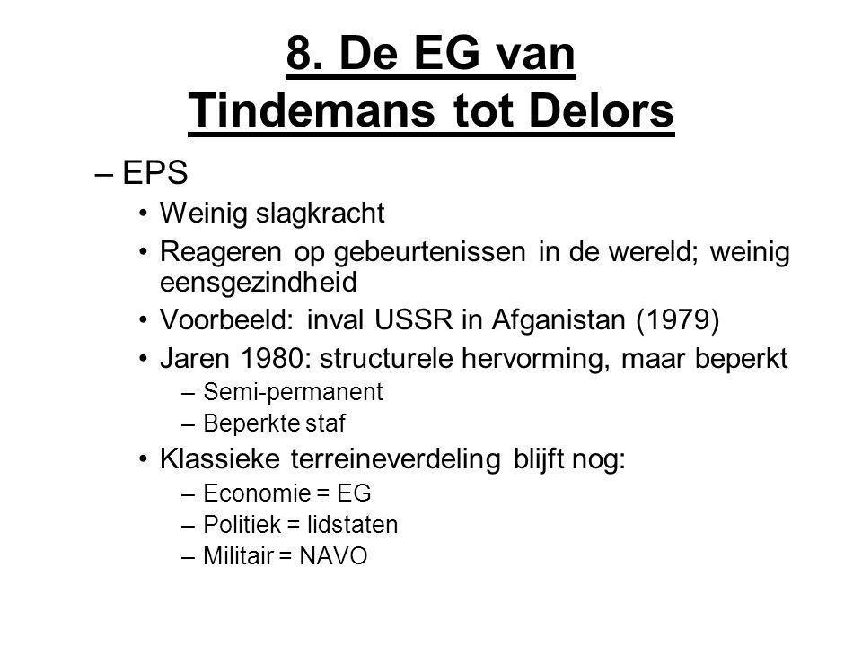 8. De EG van Tindemans tot Delors –EPS Weinig slagkracht Reageren op gebeurtenissen in de wereld; weinig eensgezindheid Voorbeeld: inval USSR in Afgan