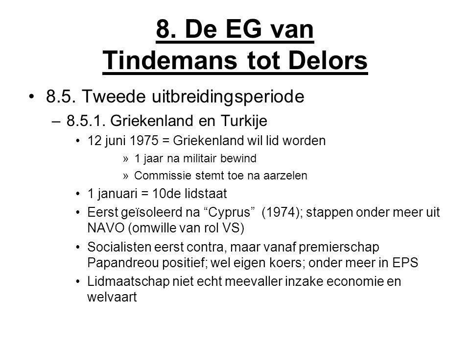 8. De EG van Tindemans tot Delors 8.5. Tweede uitbreidingsperiode –8.5.1. Griekenland en Turkije 12 juni 1975 = Griekenland wil lid worden »1 jaar na