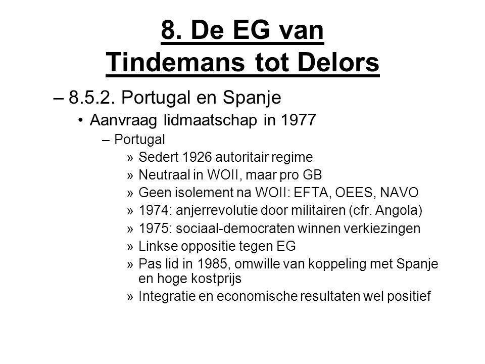 8. De EG van Tindemans tot Delors –8.5.2. Portugal en Spanje Aanvraag lidmaatschap in 1977 –Portugal »Sedert 1926 autoritair regime »Neutraal in WOII,