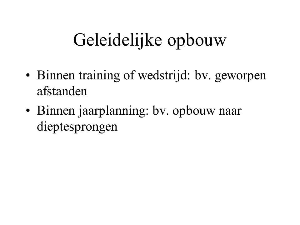 Geleidelijke opbouw Binnen training of wedstrijd: bv.