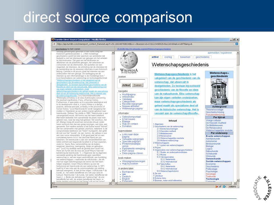 direct source comparison