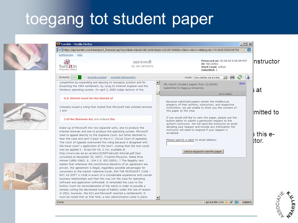 toegang tot student paper Dear Seymour Skinner, Turnitin is forwarding this request on behalf of Dr. Nick Riviera, an instructor at Hollywood Upstairs