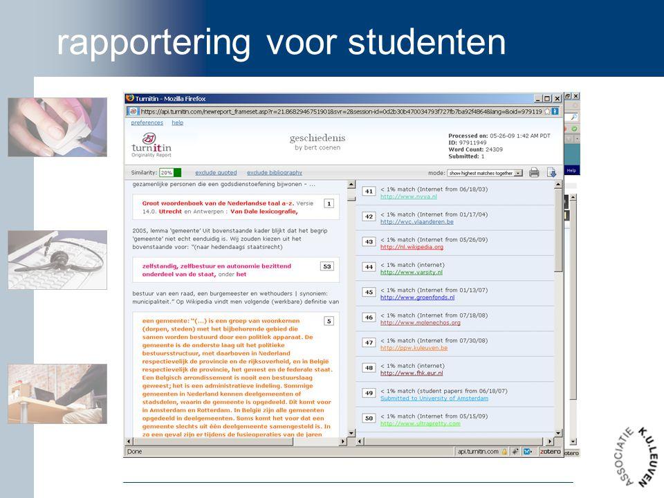 rapportering voor studenten