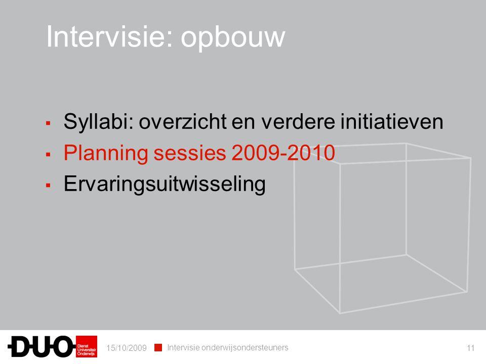 15/10/2009 Intervisie onderwijsondersteuners 11 ▪ Syllabi: overzicht en verdere initiatieven ▪ Planning sessies 2009-2010 ▪ Ervaringsuitwisseling Inte