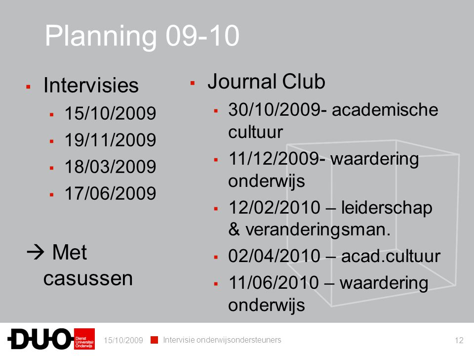 15/10/2009 Intervisie onderwijsondersteuners 12 Planning 09-10 ▪ Intervisies ▪ 15/10/2009 ▪ 19/11/2009 ▪ 18/03/2009 ▪ 17/06/2009  Met casussen ▪ Jour