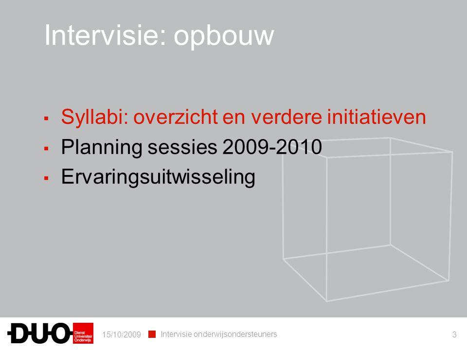 15/10/2009 Intervisie onderwijsondersteuners 3 Intervisie: opbouw ▪ Syllabi: overzicht en verdere initiatieven ▪ Planning sessies 2009-2010 ▪ Ervaring