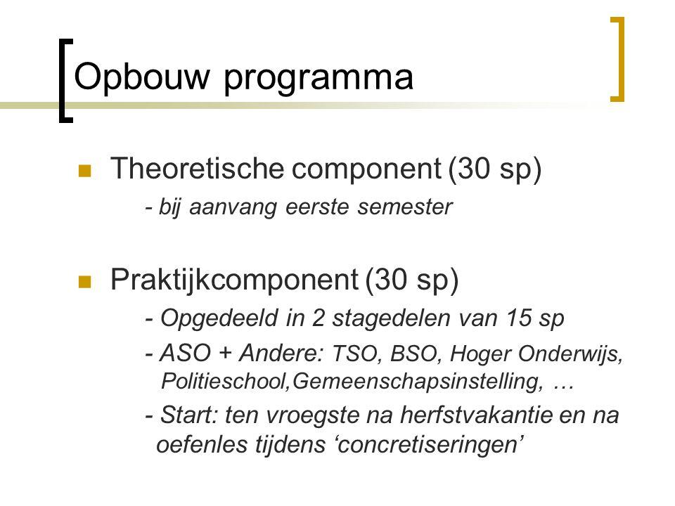 Opbouw programma Theoretische component (30 sp) - bij aanvang eerste semester Praktijkcomponent (30 sp) - Opgedeeld in 2 stagedelen van 15 sp - ASO +