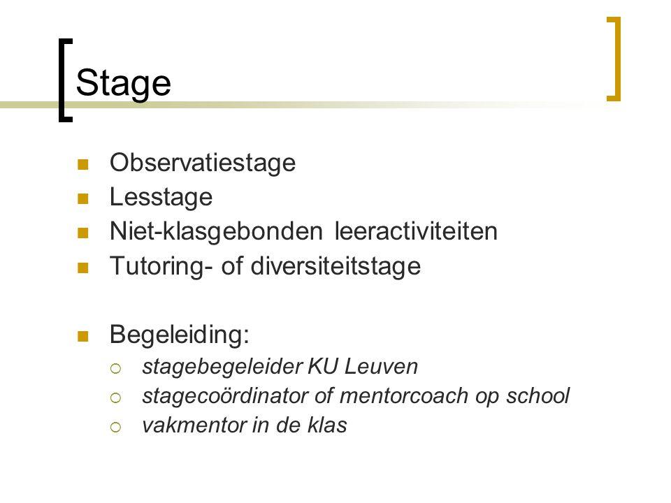 Stage Observatiestage Lesstage Niet-klasgebonden leeractiviteiten Tutoring- of diversiteitstage Begeleiding:  stagebegeleider KU Leuven  stagecoördi
