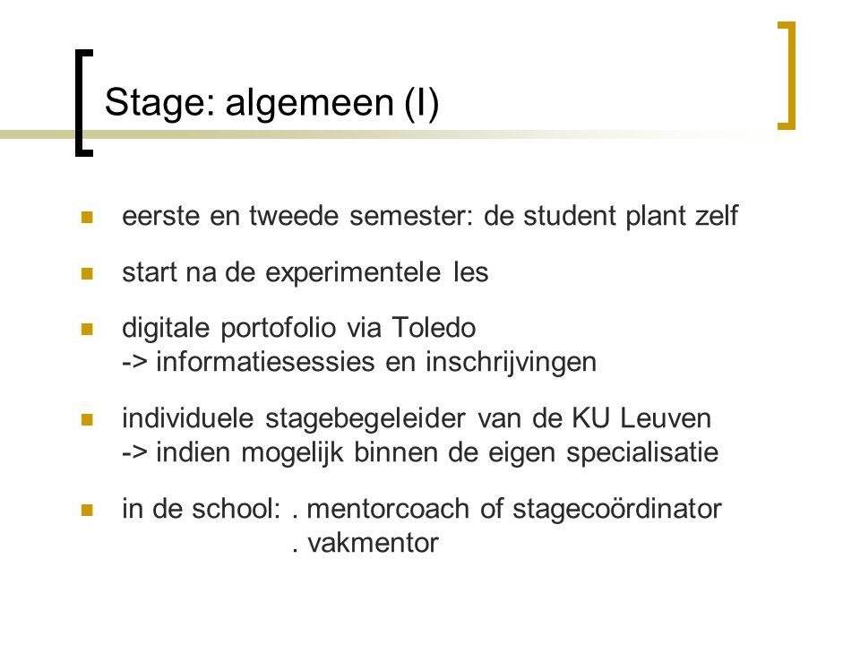 Stage: algemeen (I) eerste en tweede semester: de student plant zelf start na de experimentele les digitale portofolio via Toledo -> informatiesessies