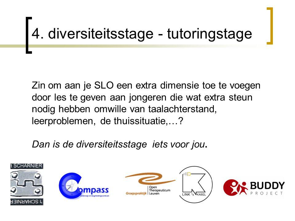 4. diversiteitsstage - tutoringstage Zin om aan je SLO een extra dimensie toe te voegen door les te geven aan jongeren die wat extra steun nodig hebbe