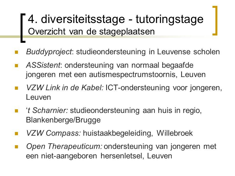4. diversiteitsstage - tutoringstage Overzicht van de stageplaatsen Buddyproject: studieondersteuning in Leuvense scholen ASSistent: ondersteuning van