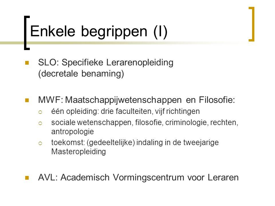 Enkele begrippen (I) SLO: Specifieke Lerarenopleiding (decretale benaming) MWF: Maatschappijwetenschappen en Filosofie:  één opleiding: drie facultei